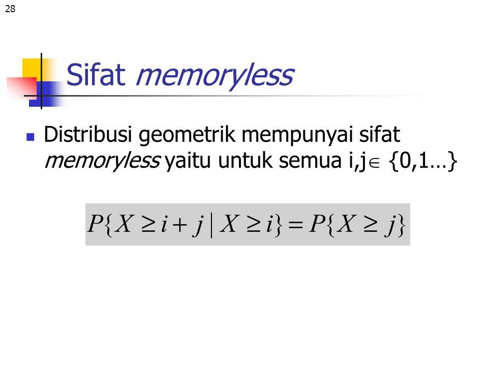 28 Sifat memoryless Distribusi geometrik mempunyai sifat memoryless yaitu untuk semua i,j  {0,1…}