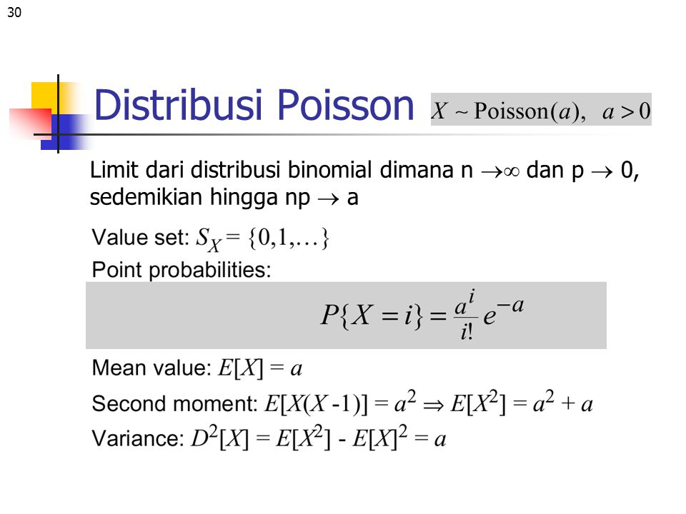30 Distribusi Poisson Limit dari distribusi binomial dimana n  dan p  0, sedemikian hingga np  a