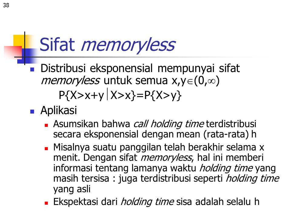 38 Sifat memoryless Distribusi eksponensial mempunyai sifat memoryless untuk semua x,y  (0,  ) P{X>x+y  X>x}=P{X>y} Aplikasi Asumsikan bahwa call h