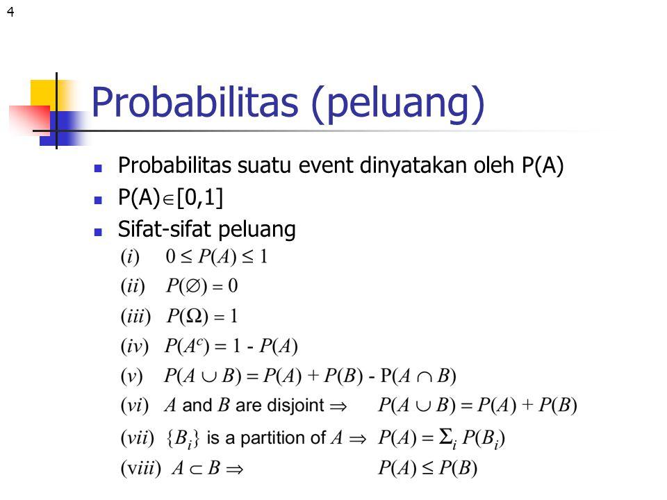 4 Probabilitas (peluang) Probabilitas suatu event dinyatakan oleh P(A) P(A)  [0,1] Sifat-sifat peluang