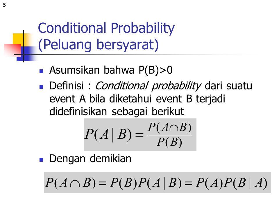 5 Conditional Probability (Peluang bersyarat) Asumsikan bahwa P(B)>0 Definisi : Conditional probability dari suatu event A bila diketahui event B terj
