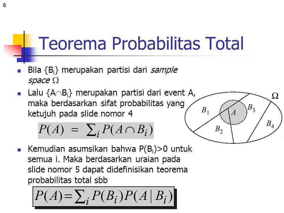 6 Teorema Probabilitas Total Bila {B i } merupakan partisi dari sample space  Lalu {A  B i } merupakan partisi dari event A, maka berdasarkan sifat