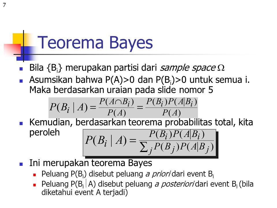 7 Teorema Bayes Bila {B i } merupakan partisi dari sample space  Asumsikan bahwa P(A)>0 dan P(B i )>0 untuk semua i. Maka berdasarkan uraian pada sli