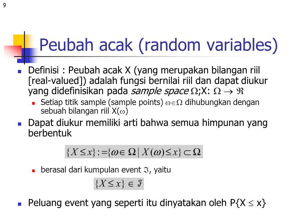 9 Peubah acak (random variables) Definisi : Peubah acak X (yang merupakan bilangan riil [real-valued]) adalah fungsi bernilai riil dan dapat diukur ya