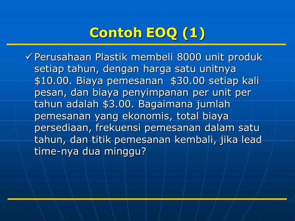 Contoh EOQ (1) Perusahaan Plastik membeli 8000 unit produk setiap tahun, dengan harga satu unitnya $10.00. Biaya pemesanan $30.00 setiap kali pesan, d