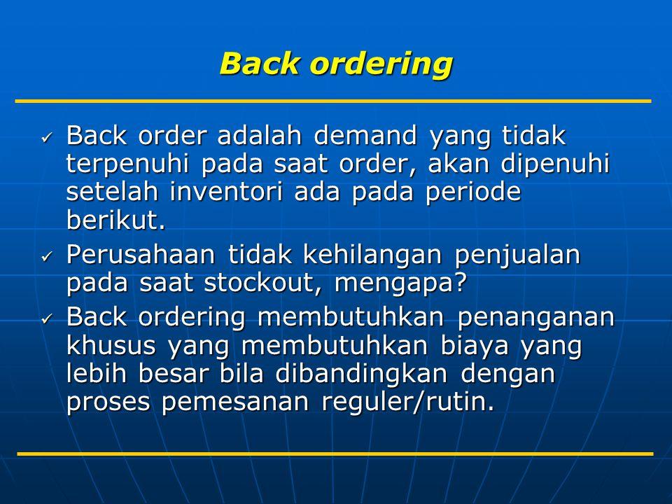 Back ordering Back order adalah demand yang tidak terpenuhi pada saat order, akan dipenuhi setelah inventori ada pada periode berikut. Back order adal