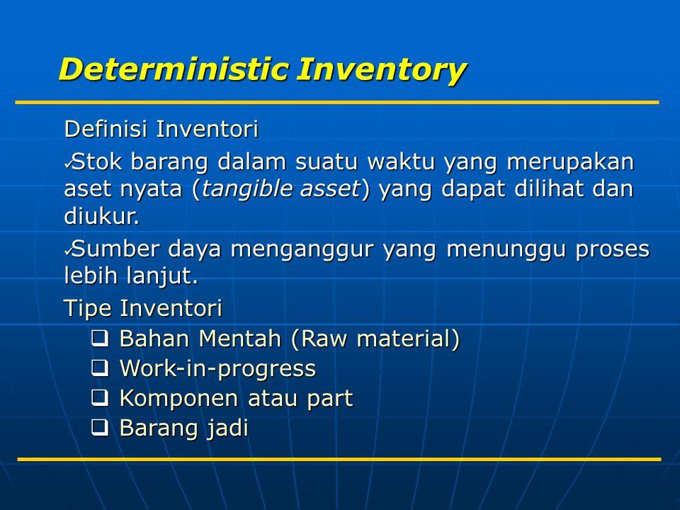 Deterministic Inventory Definisi Inventori Stok barang dalam suatu waktu yang merupakan aset nyata (tangible asset) yang dapat dilihat dan diukur. Sto