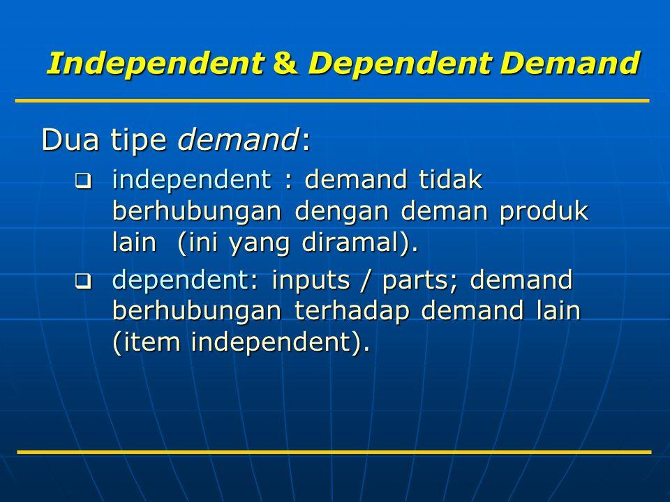 Independent & Dependent Demand Dua tipe demand:  independent : demand tidak berhubungan dengan deman produk lain (ini yang diramal).  dependent: inp