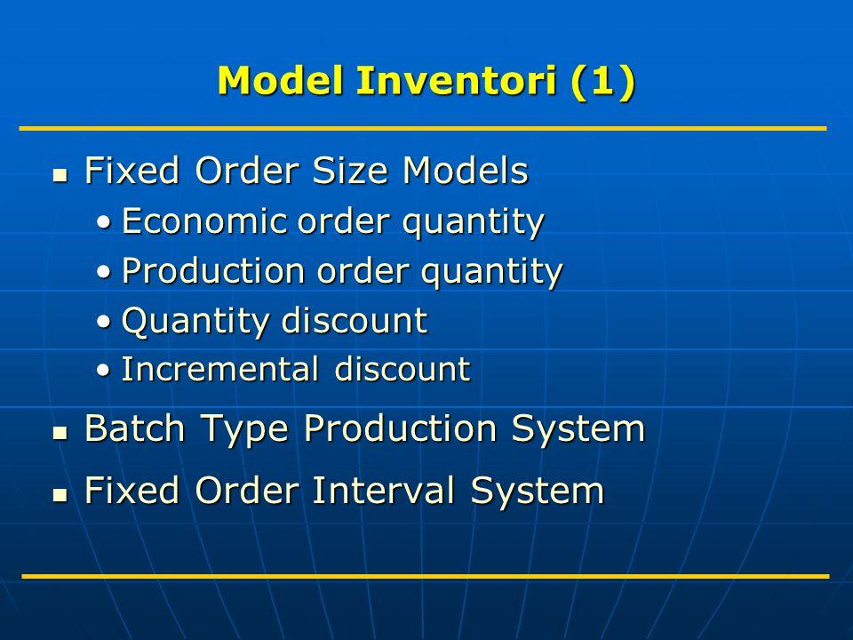 Model Inventori (2) Tujuan: Minimasi Total Inventori Cost yaitu Menentukan Economic Order Quantity.