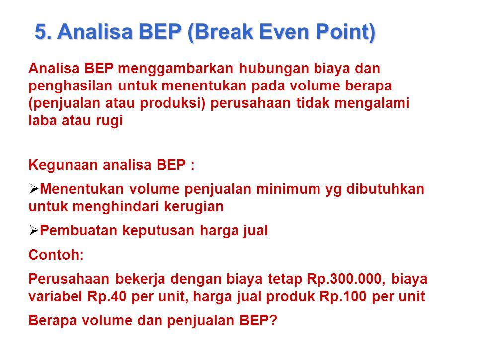 5. Analisa BEP (Break Even Point) Analisa BEP menggambarkan hubungan biaya dan penghasilan untuk menentukan pada volume berapa (penjualan atau produks