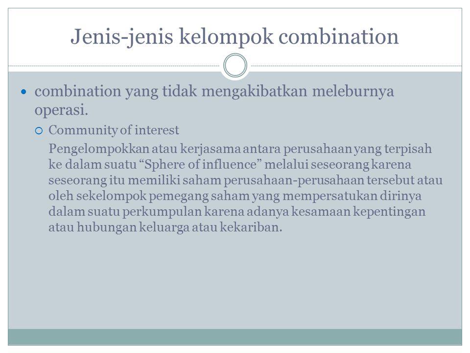 Jenis-jenis kelompok combination combination yang tidak mengakibatkan meleburnya operasi.  Community of interest Pengelompokkan atau kerjasama antara