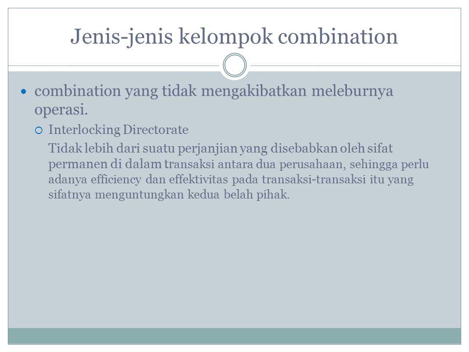 Jenis-jenis kelompok combination combination yang tidak mengakibatkan meleburnya operasi.  Interlocking Directorate Tidak lebih dari suatu perjanjian