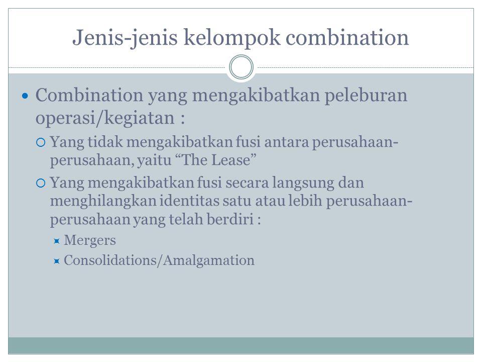 Jenis-jenis kelompok combination Combination yang mengakibatkan peleburan operasi/kegiatan :  Yang tidak mengakibatkan fusi antara perusahaan- perusa