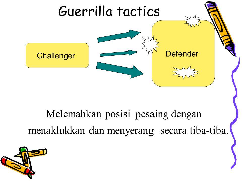 Guerrilla tactics Melemahkan posisi pesaing dengan menaklukkan dan menyerang secara tiba-tiba. Challenger Defender
