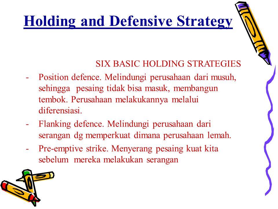 Holding and Defensive Strategy SIX BASIC HOLDING STRATEGIES -Position defence. Melindungi perusahaan dari musuh, sehingga pesaing tidak bisa masuk, me