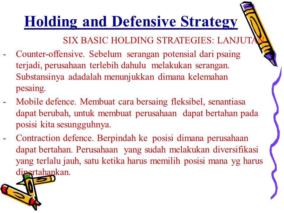 Holding and Defensive Strategy SIX BASIC HOLDING STRATEGIES: LANJUTAN -Counter-offensive. Sebelum serangan potensial dari psaing terjadi, perusahaan t