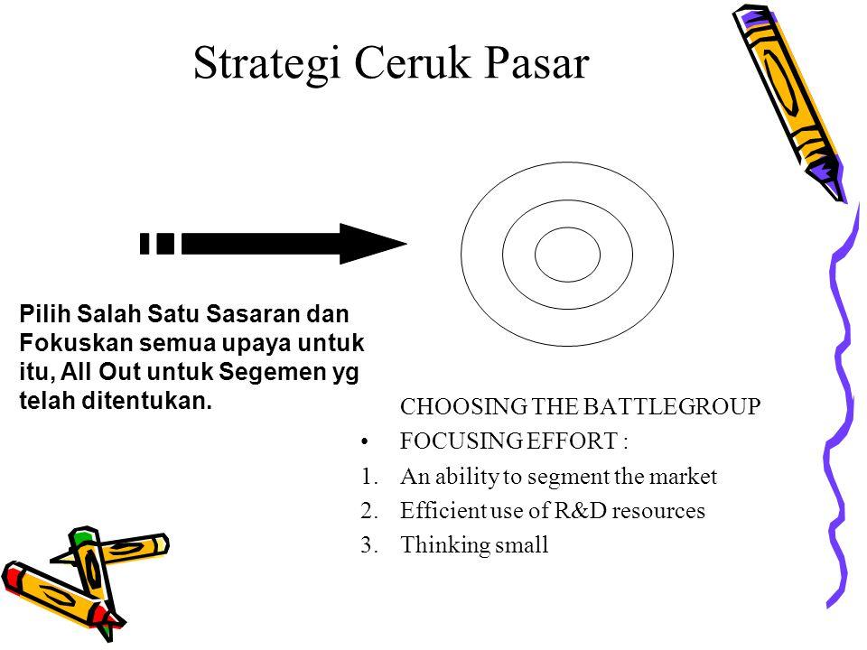 CHOOSING THE BATTLEGROUP FOCUSING EFFORT : 1.An ability to segment the market 2.Efficient use of R&D resources 3.Thinking small Pilih Salah Satu Sasar