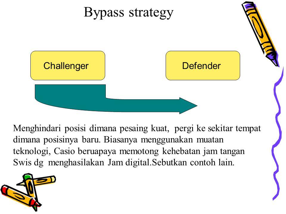 Bypass strategy Menghindari posisi dimana pesaing kuat, pergi ke sekitar tempat dimana posisinya baru. Biasanya menggunakan muatan teknologi, Casio be