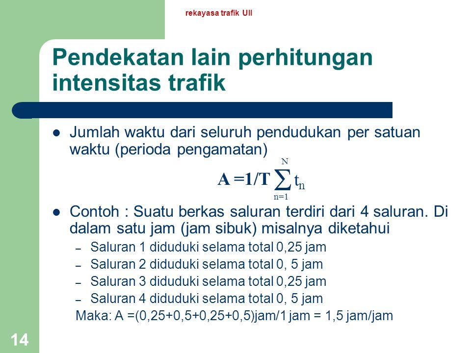 rekayasa trafik UII 13 Beberapa pengertian lain intensitas trafik Intensitas trafik yang diolah oleh satu saluran sama dengan peluang (bagian dari wak