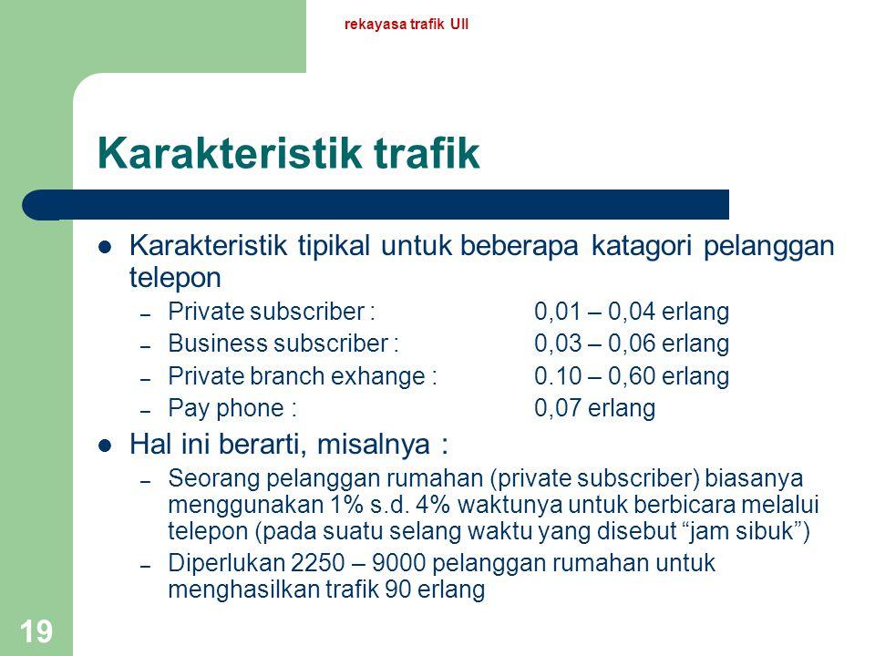 rekayasa trafik UII 18 Contoh-contoh (cont.) Pertanyaan Suatu perusahaan rata-rata melakukan panggilan keluar sebanyak 120 kali pada 1 jam sibuk. Masi