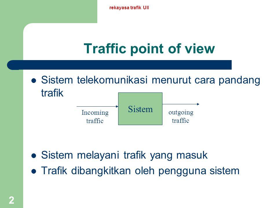 2 Traffic point of view Sistem telekomunikasi menurut cara pandang trafik Sistem melayani trafik yang masuk Trafik dibangkitkan oleh pengguna sistem Sistem Incoming traffic outgoing traffic