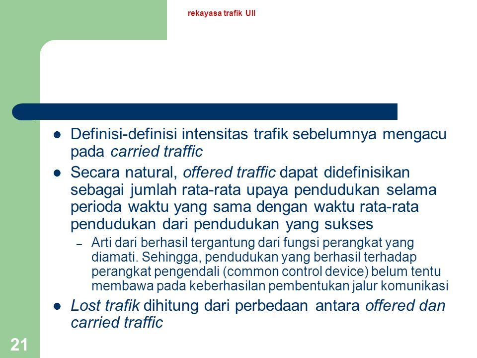 rekayasa trafik UII 20 Tiga jenis trafik Trafik yang ditawarkan (offered traffic) : A Trafik yang dimuat (carried traffic) : Y Trafik yang ditolak ata