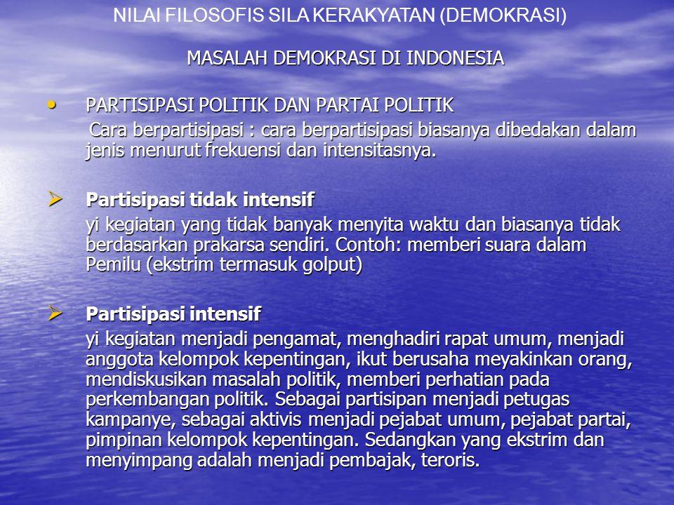 MASALAH DEMOKRASI DI INDONESIA PARTISIPASI POLITIK DAN PARTAI POLITIK PARTISIPASI POLITIK DAN PARTAI POLITIK Cara berpartisipasi : cara berpartisipasi biasanya dibedakan dalam jenis menurut frekuensi dan intensitasnya.