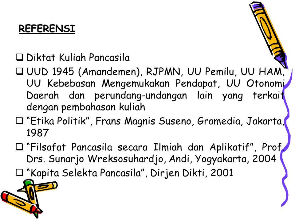 REFERENSI  Diktat Kuliah Pancasila  UUD 1945 (Amandemen), RJPMN, UU Pemilu, UU HAM, UU Kebebasan Mengemukakan Pendapat, UU Otonomi Daerah dan perundang-undangan lain yang terkait dengan pembahasan kuliah  Etika Politik , Frans Magnis Suseno, Gramedia, Jakarta, 1987  Filsafat Pancasila secara Ilmiah dan Aplikatif , Prof.
