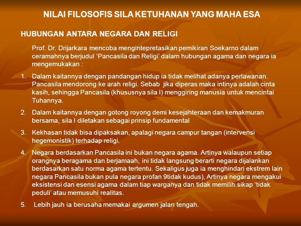 NILAI FILOSOFIS SILA KETUHANAN YANG MAHA ESA HUBUNGAN ANTARA NEGARA DAN RELIGI Prof.