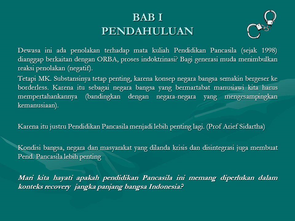 BAB I PENDAHULUAN Dewasa ini ada penolakan terhadap mata kuliah Pendidikan Pancasila (sejak 1998) dianggap berkaitan dengan ORBA, proses indoktrinasi.
