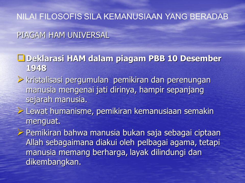 PIAGAM HAM UNIVERSAL  Deklarasi HAM dalam piagam PBB 10 Desember 1948  kristalisasi pergumulan pemikiran dan perenungan manusia mengenai jati dirinya, hampir sepanjang sejarah manusia.