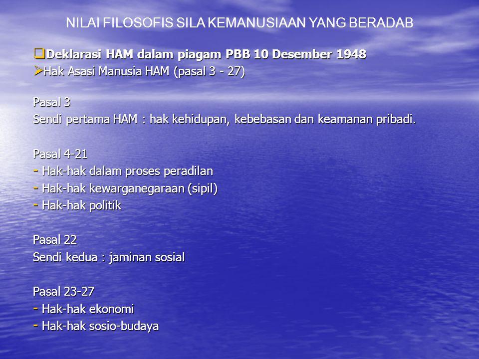  Deklarasi HAM dalam piagam PBB 10 Desember 1948  Hak Asasi Manusia HAM (pasal 3 - 27) Pasal 3 Sendi pertama HAM : hak kehidupan, kebebasan dan keamanan pribadi.