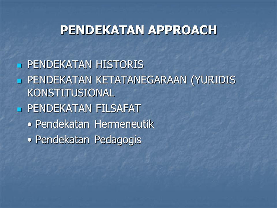 PENDEKATAN APPROACH PENDEKATAN HISTORIS PENDEKATAN HISTORIS PENDEKATAN KETATANEGARAAN (YURIDIS KONSTITUSIONAL PENDEKATAN KETATANEGARAAN (YURIDIS KONSTITUSIONAL PENDEKATAN FILSAFAT PENDEKATAN FILSAFAT Pendekatan Hermeneutik Pendekatan Hermeneutik Pendekatan Pedagogis Pendekatan Pedagogis