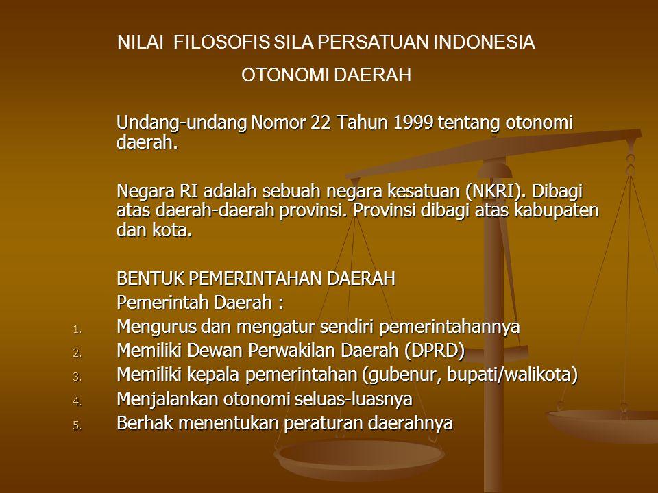 Undang-undang Nomor 22 Tahun 1999 tentang otonomi daerah.