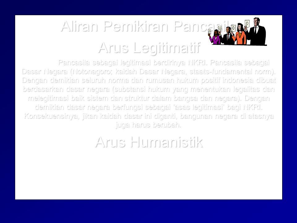 Aliran Pemikiran Pancasila Arus Legitimatif Arus Humanistik Pancasila sebagai pemikiran humanistik atas keberadaan manusia.