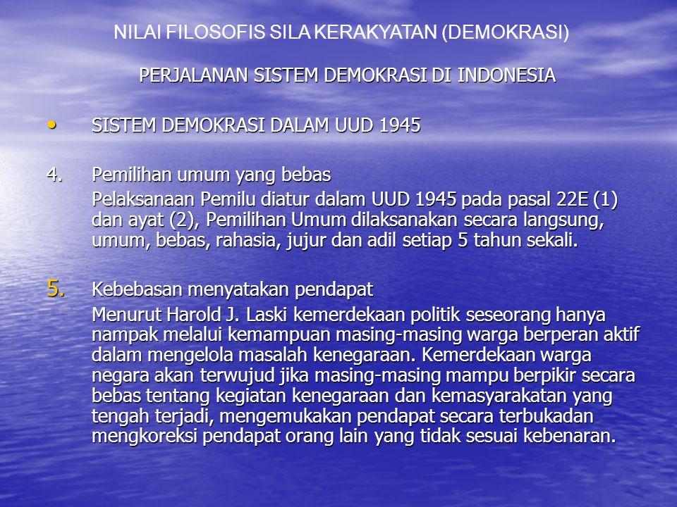 PERJALANAN SISTEM DEMOKRASI DI INDONESIA SISTEM DEMOKRASI DALAM UUD 1945 SISTEM DEMOKRASI DALAM UUD 1945 4.Pemilihan umum yang bebas Pelaksanaan Pemilu diatur dalam UUD 1945 pada pasal 22E (1) dan ayat (2), Pemilihan Umum dilaksanakan secara langsung, umum, bebas, rahasia, jujur dan adil setiap 5 tahun sekali.