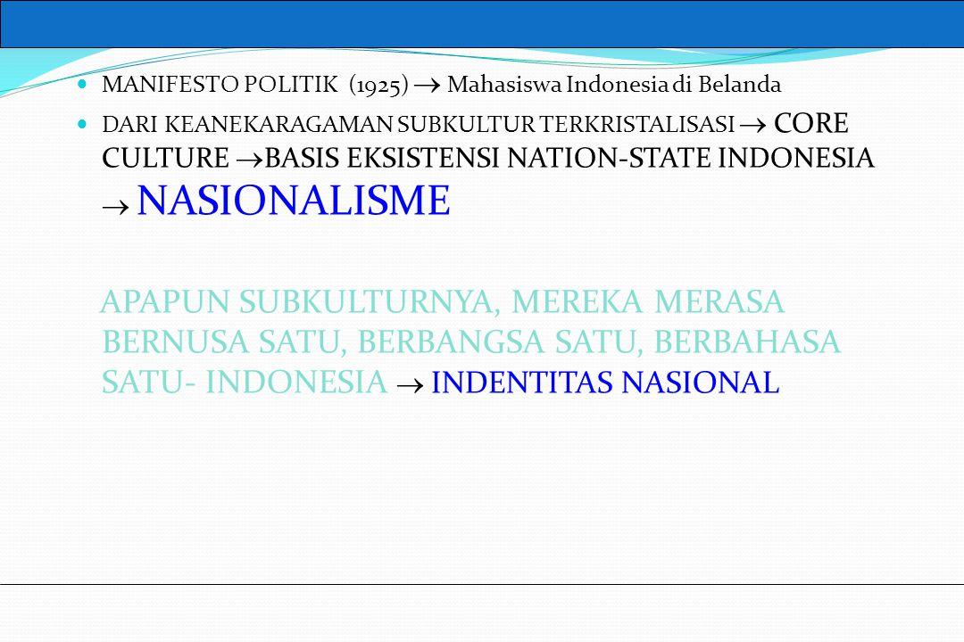 UM10-080 PANCASILA DAN KEWARGANEGARAAN MANIFESTO POLITIK (1925)  Mahasiswa Indonesia di Belanda DARI KEANEKARAGAMAN SUBKULTUR TERKRISTALISASI  CORE