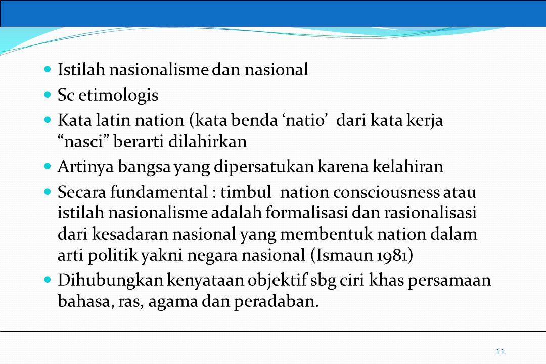 """UM10-080 PANCASILA DAN KEWARGANEGARAAN Istilah nasionalisme dan nasional Sc etimologis Kata latin nation (kata benda 'natio' dari kata kerja """"nasci"""" b"""