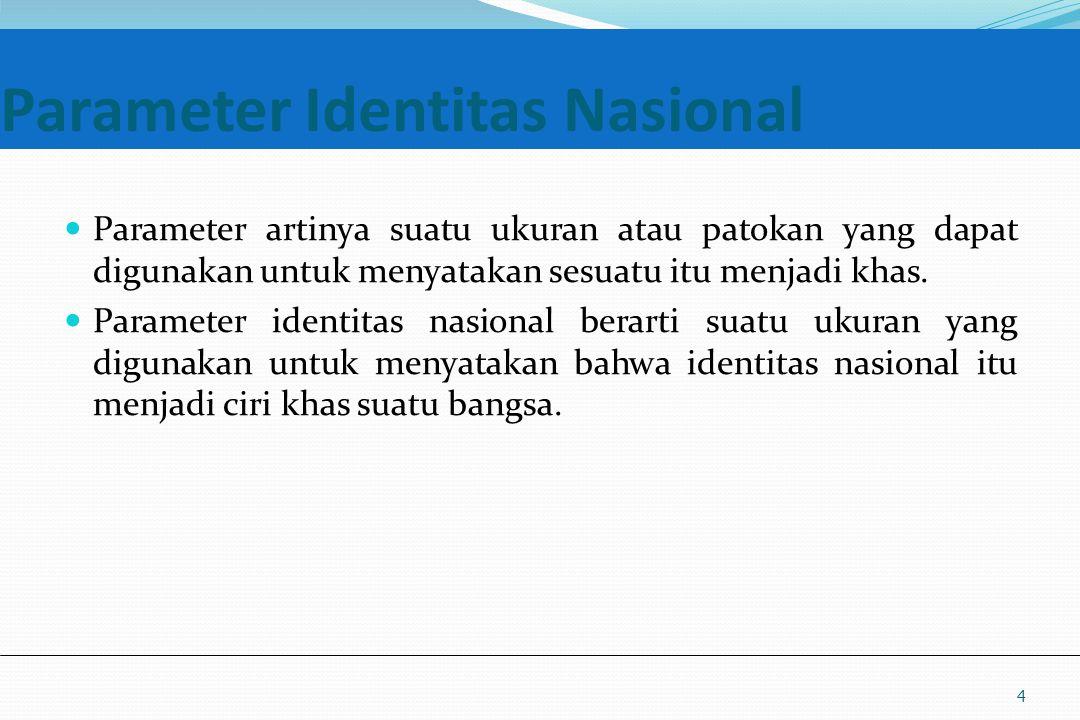 UM10-080 PANCASILA DAN KEWARGANEGARAAN Parameter Identitas Nasional Parameter artinya suatu ukuran atau patokan yang dapat digunakan untuk menyatakan