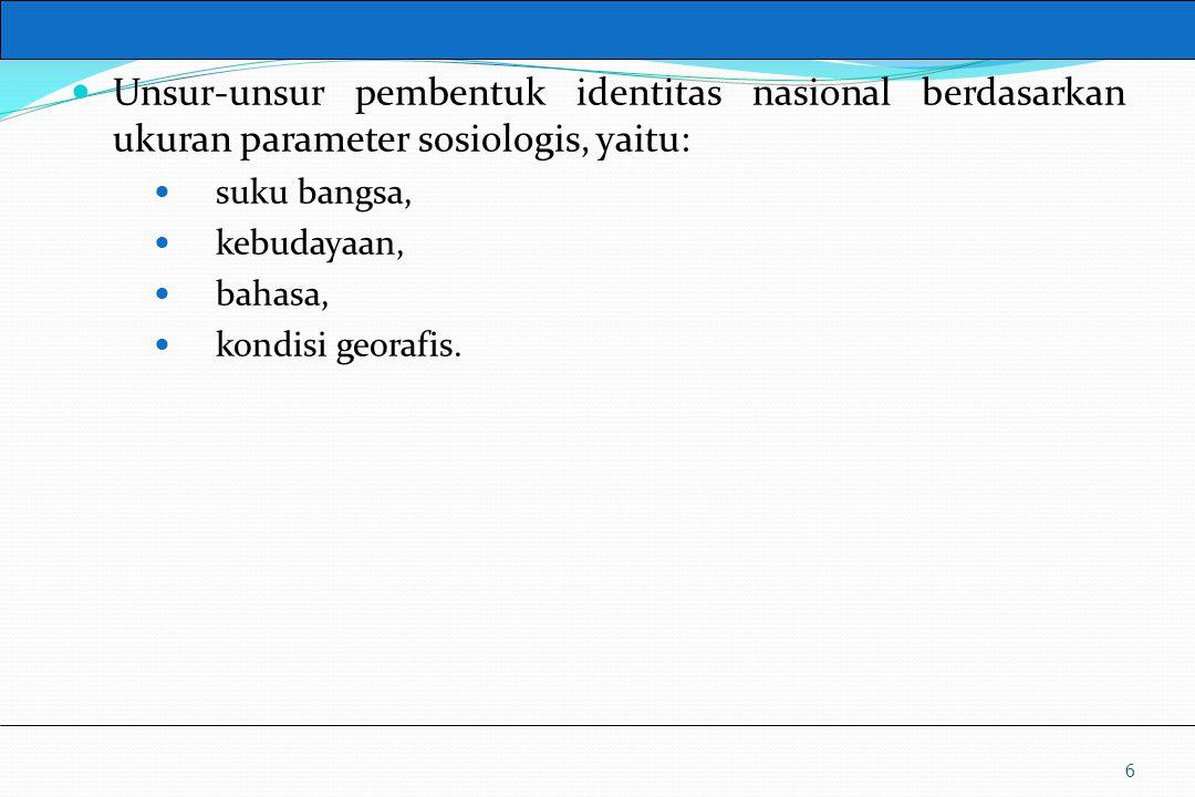 UM10-080 PANCASILA DAN KEWARGANEGARAAN Unsur-unsur pembentuk identitas nasional berdasarkan ukuran parameter sosiologis, yaitu: suku bangsa, kebudayaa
