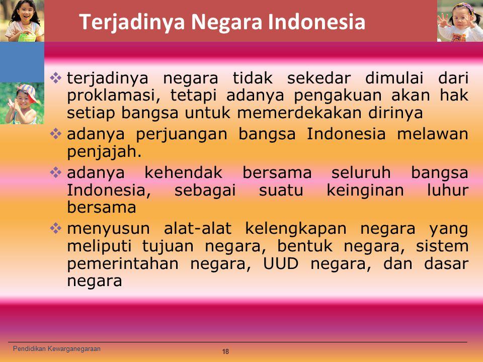 Terjadinya Negara Indonesia  terjadinya negara tidak sekedar dimulai dari proklamasi, tetapi adanya pengakuan akan hak setiap bangsa untuk memerdekak