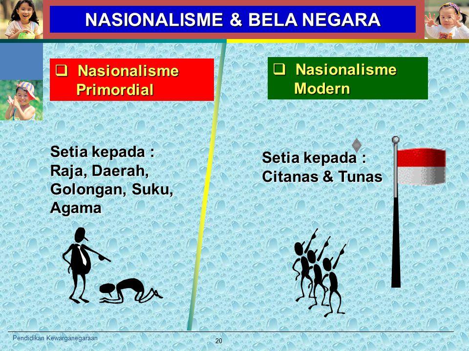NASIONALISME & BELA NEGARA  Nasionalisme Primordial Primordial  Nasionalisme Modern Modern Setia kepada : Raja, Daerah, Golongan, Suku, Agama Setia