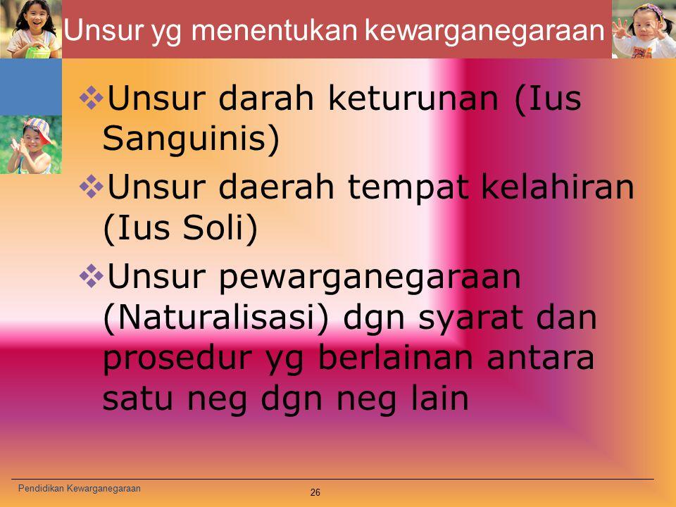 Unsur yg menentukan kewarganegaraan  Unsur darah keturunan (Ius Sanguinis)  Unsur daerah tempat kelahiran (Ius Soli)  Unsur pewarganegaraan (Natura