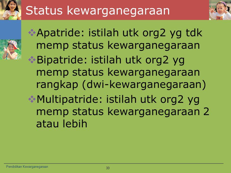 Status kewarganegaraan  Apatride: istilah utk org2 yg tdk memp status kewarganegaraan  Bipatride: istilah utk org2 yg memp status kewarganegaraan ra