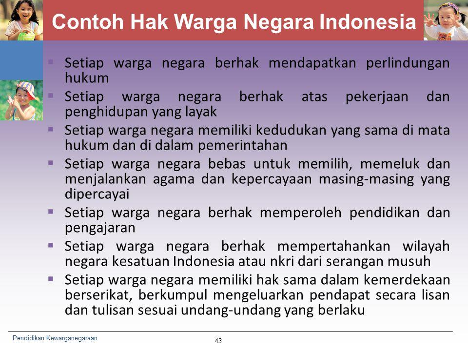 Contoh Hak Warga Negara Indonesia  Setiap warga negara berhak mendapatkan perlindungan hukum  Setiap warga negara berhak atas pekerjaan dan penghidu