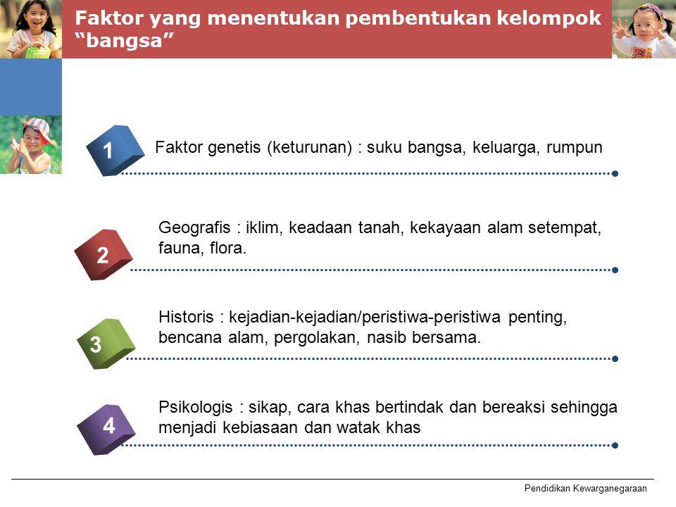 "Pendidikan Kewarganegaraan Faktor yang menentukan pembentukan kelompok ""bangsa"" 4 1 2 3 5 Faktor genetis (keturunan) : suku bangsa, keluarga, rumpun G"