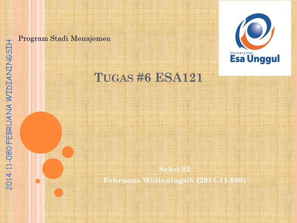 Program Stadi Menajemen 2014-11-080 FEBRUANA WIDIANINGSIH T UGAS #6 ESA121 Seksi 02 Februana Widianingsih (2014-11-080)