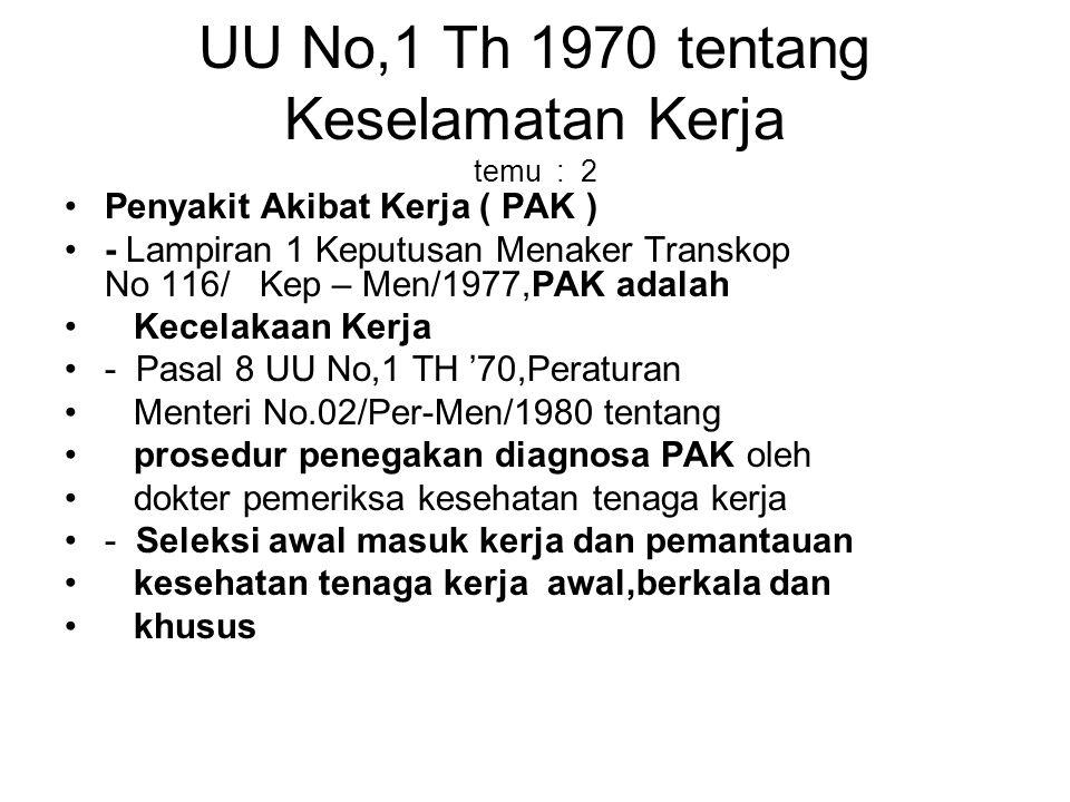 UU No,1 Th 1970 tentang Keselamatan Kerja temu : 2 Penyakit Akibat Kerja ( PAK ) - Lampiran 1 Keputusan Menaker Transkop No 116/ Kep – Men/1977,PAK ad