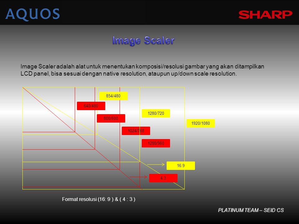 PLATINUM TEAM – SEID CS Image Scaler adalah alat untuk menentukan komposisi/resolusi gambar yang akan ditampilkan LCD panel, bisa sesuai dengan native resolution, ataupun up/down scale resolution.