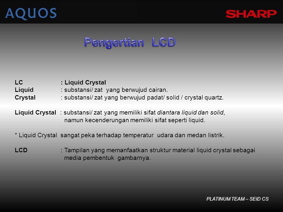 LC : Liquid Crystal Liquid : substansi/ zat yang berwujud cairan. Crystal : substansi/ zat yang berwujud padat/ solid / crystal quartz. Liquid Crystal